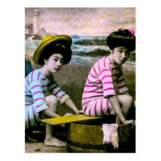 Japanese Bathing Beauties Vintage Beach Babes Postcard