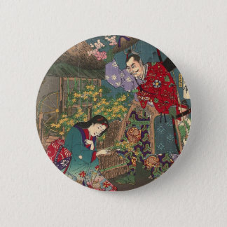 Japanese Beautiful Geisha Samurai Art 2 Inch Round Button