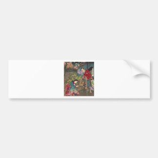 Japanese Beautiful Geisha Samurai Art Bumper Sticker