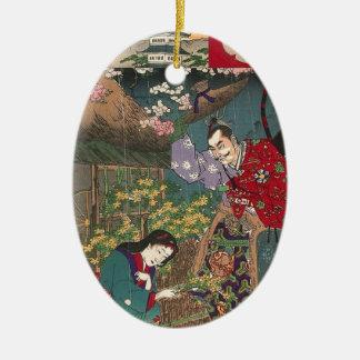 Japanese Beautiful Geisha Samurai Art Ceramic Ornament