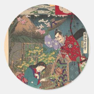 Japanese Beautiful Geisha Samurai Art Classic Round Sticker