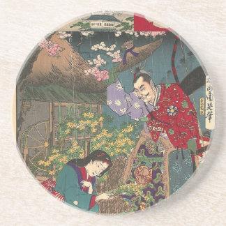 Japanese Beautiful Geisha Samurai Art Coaster
