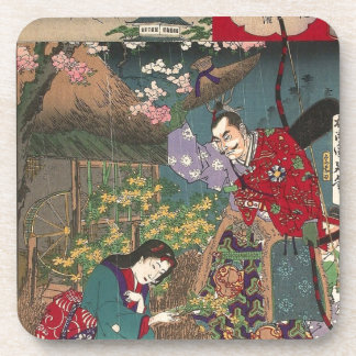 Japanese Beautiful Geisha Samurai Art Coasters