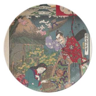 Japanese Beautiful Geisha Samurai Art Dinner Plates