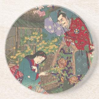 Japanese Beautiful Geisha Samurai Art Drink Coasters