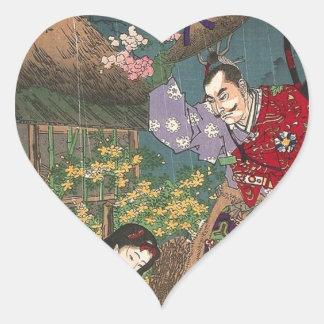 Japanese Beautiful Geisha Samurai Art Heart Sticker