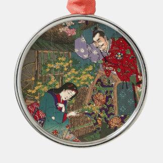 Japanese Beautiful Geisha Samurai Art Metal Ornament