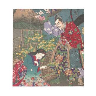 Japanese Beautiful Geisha Samurai Art Notepad