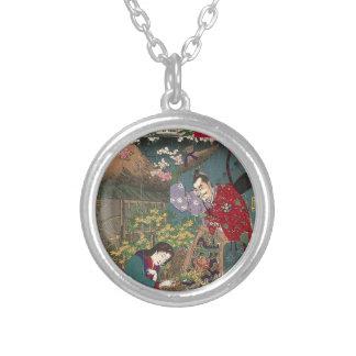 Japanese Beautiful Geisha Samurai Art Silver Plated Necklace