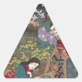Japanese Beautiful Geisha Samurai Art Triangle Sticker