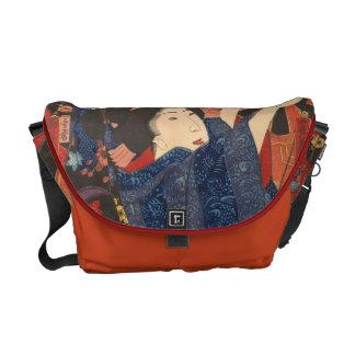 Japanese Beauty airs colourful garments Messenger Bag