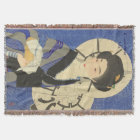 Japanese Beauty At the Bathouse Throw Blanket