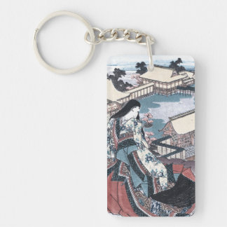Japanese Beauty Ukiyo-e Print with a View of Kyoto Keychain