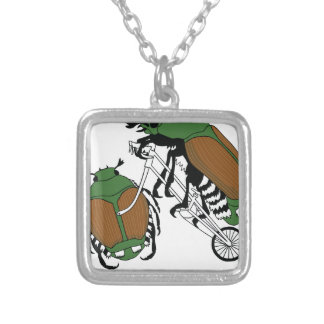Japanese Beetle Riding Bike/ Japanese Beetle Wheel Silver Plated Necklace