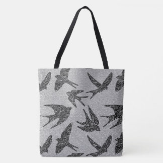 Japanese Birds in Flight, Charcoal and Light Gray Tote Bag