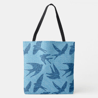 Japanese Birds in Flight, Cobalt Blue and White Tote Bag