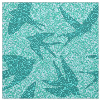 Japanese Birds in Flight, Turquoise and Aqua Fabric