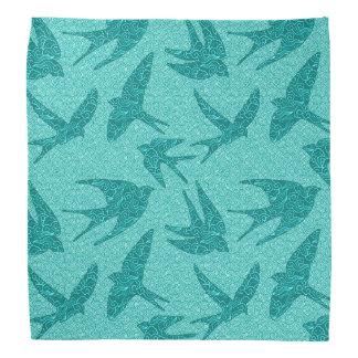 Japanese Birds in Flight, Turquoise and Aqua Kerchief