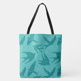 Japanese Birds in Flight, Turquoise and Aqua Tote Bag