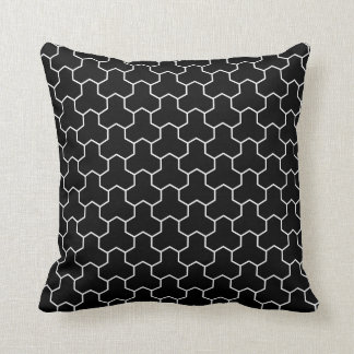 Japanese Bishamon Pattern Black Throw Pillow