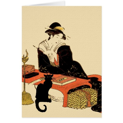 Japanese Black Cat Lady Greeting Card