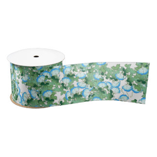 Japanese Blue Morning Glory Floral Flowers Ribbon Satin Ribbon