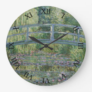 Japanese Bridge and Water Lilies by Claude Monet Large Clock