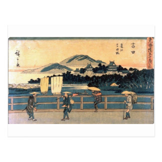 Japanese Bridge Crossing Vintage Woodblock Art Postcard