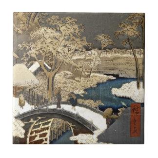 Japanese Bridge in the Snow Tile