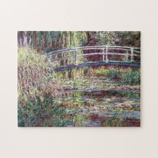 Japanese Bridge Symphony in Rose Monet Fine Art Jigsaw Puzzle