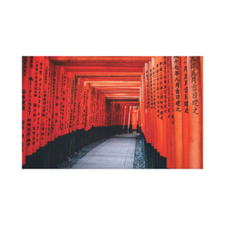 Japanese Bright Red Shinto Temple. Canvas Print