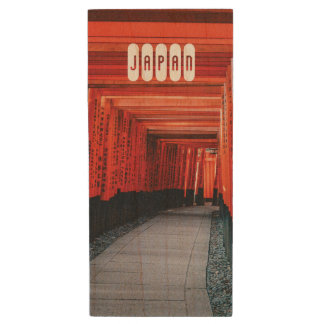 Japanese Bright Red Shinto Temple. Wood USB Flash Drive