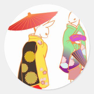 Japanese Bunny Rabbits Classic Round Sticker