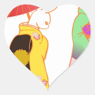 Japanese Bunny Rabbits Heart Sticker