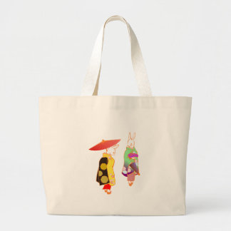Japanese Bunny Rabbits Large Tote Bag