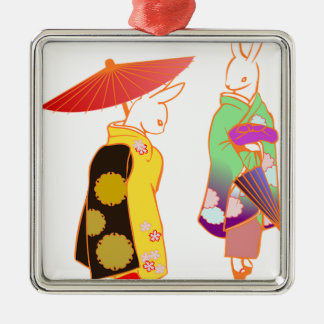 Japanese Bunny Rabbits Metal Ornament