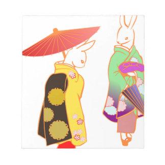 Japanese Bunny Rabbits Notepad