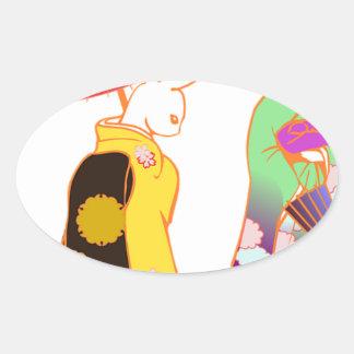 Japanese Bunny Rabbits Oval Sticker