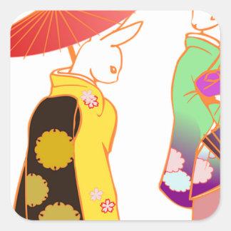 Japanese Bunny Rabbits Square Sticker