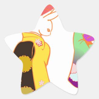 Japanese Bunny Rabbits Star Sticker