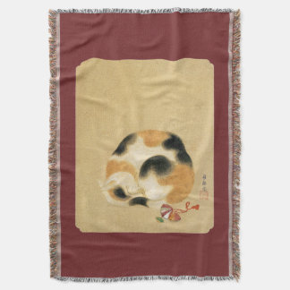 Japanese Calico cat, Hanabusa Itchō Throw Blanket