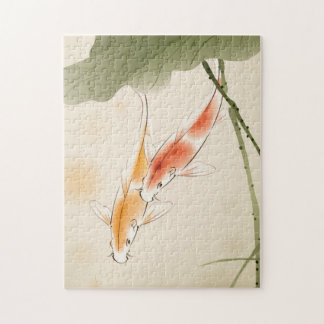Japanese Carp fishes swimming in lotus pond Puzzle