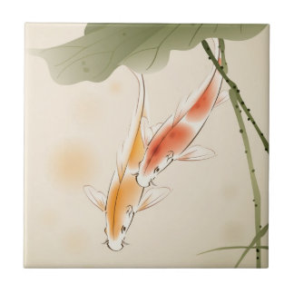 Japanese Carp fishes swimming in lotus pond Tile