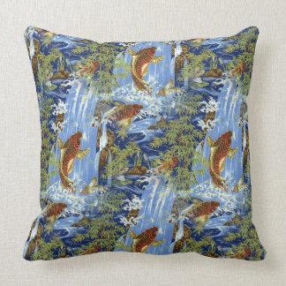 """Japanese carp koi Cotton Throw Pillow 20"""" x 20"""""""