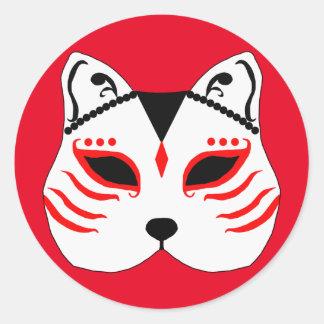 Japanese cat mask classic round sticker