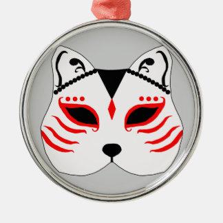 Japanese cat mask metal ornament