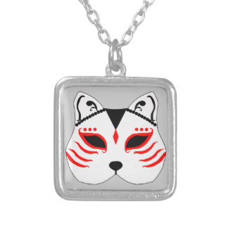 Japanese cat mask silver plated necklace