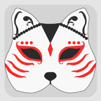 Japanese cat mask square sticker