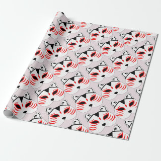 Japanese cat mask wrapping paper