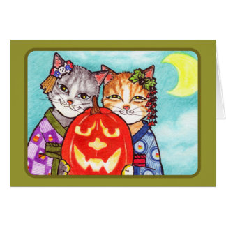 Japanese cats with pumpkin card